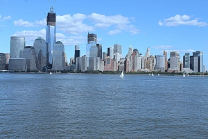 view of lower Manhattan from Exchange Place