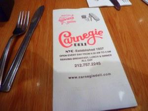 Carnegie Deli napkin