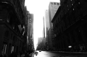 Manhattan canyon - black and white